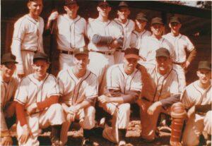 1961 Hantsport Shamrocks - Maritime Senior Baseball Champions: B.R. L-R: Earle Schurman, Johnny Graham, Carman Noiles, Jimmy Beckman, Merle Carey, Hum Joseph, Ray Harris F.R. L-R: Eddie Veino, Gib Veino, Bob Burchell, Harold Murray, Carson Ellis, Eddie Pearson